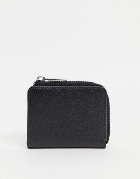 ASOS DESIGN - Lederbrieftasche mit Kartenfächern und Reißverschluss in Schwarz