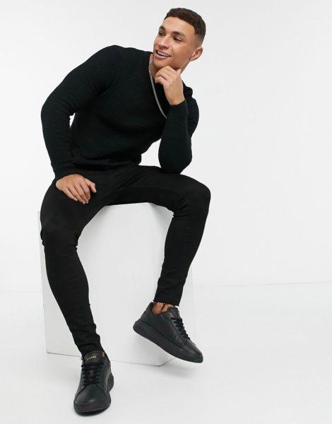ASOS DESIGN - Muskel-Pullover mit Waffelmuster in Schwarz