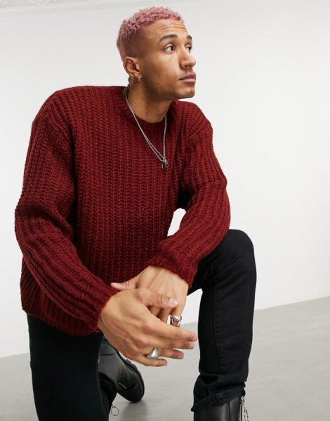 ASOS DESIGN - Oversize-Pullover in Rostrot mit Halbpatentmuster-Orange