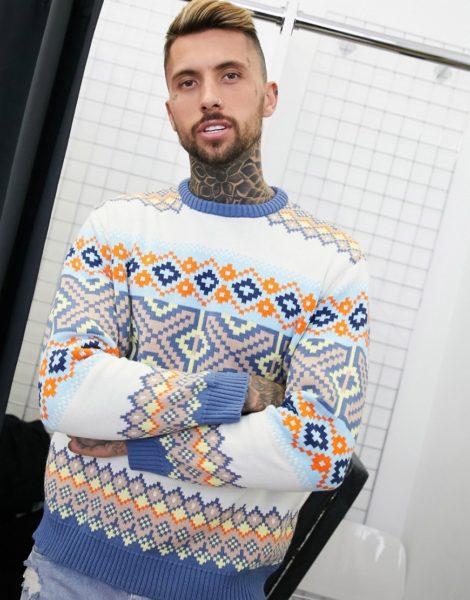 ASOS DESIGN - Oversize-Strickpullover mit buntem Muster-Blau