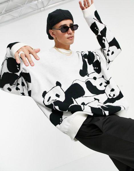 ASOS DESIGN - Oversized-Strickpullover mit Panda-Design-Mehrfarbig