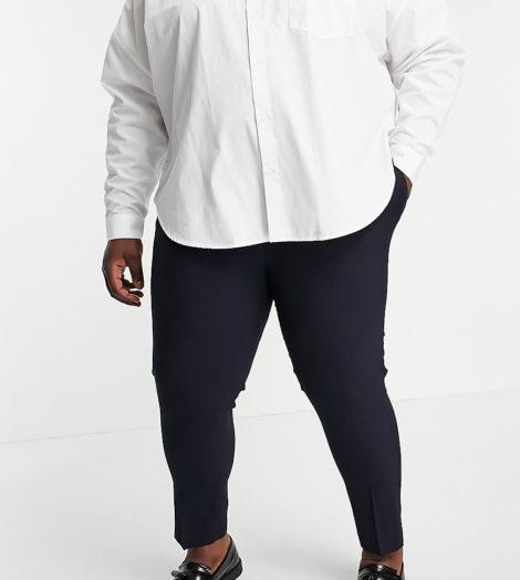 ASOS DESIGN Plus - Elegante, enge und kurz geschnittene Hose in Marineblau