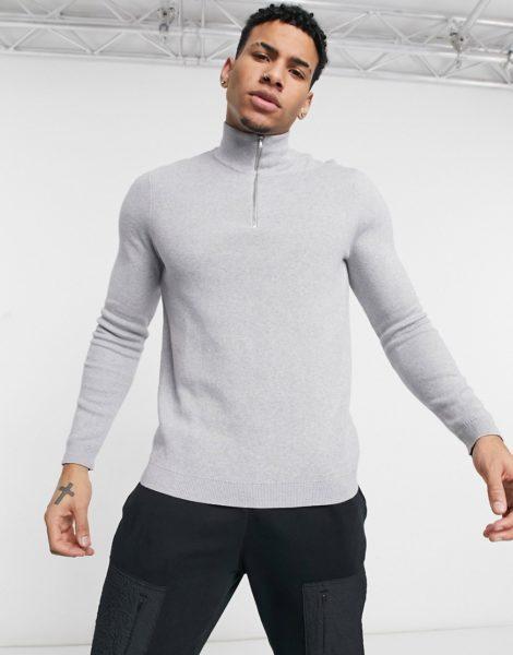 ASOS DESIGN - Pullover aus Baumwolle mit halblangem Reißverschluss in Grau