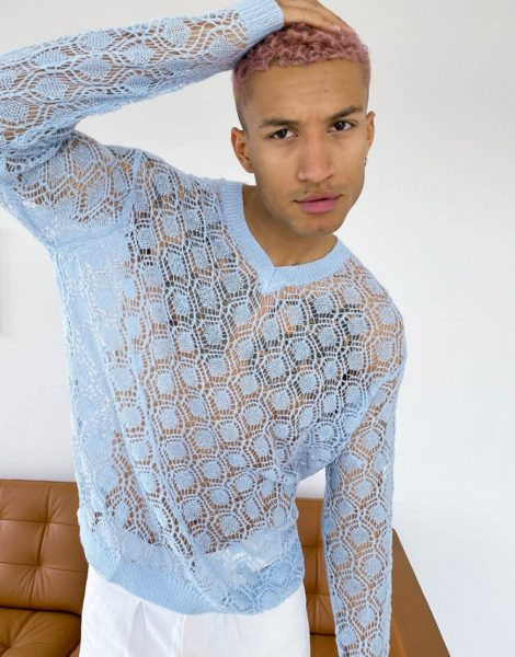 ASOS DESIGN - Pullover in Staubblau mit Pointelle-Strickmuster