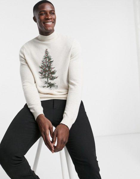 ASOS DESIGN - Rollkragenpullover mit Lammwolle und Weihnachtsbaum-Stickerei-Neutral