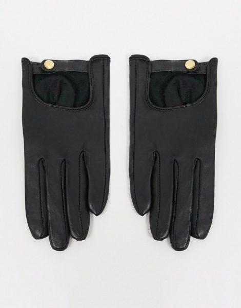 ASOS DESIGN - Schlichte Touchscreen-Lederhandschuhe in Schwarz