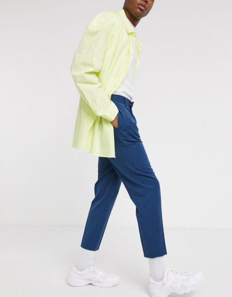 ASOS DESIGN - Schmal zulaufende, elegante Hose in Marineblau