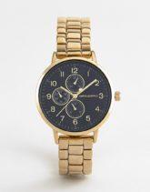ASOS DESIGN - Schmale, goldfarbige Armbanduhr mit Hilfsziffernblättern