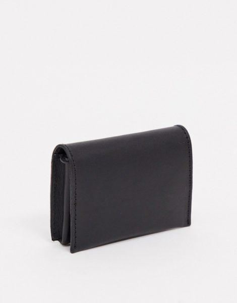 ASOS DESIGN - Schwarze Klapp-Brieftasche aus Leder mit Münzfach mit Reißverschluss