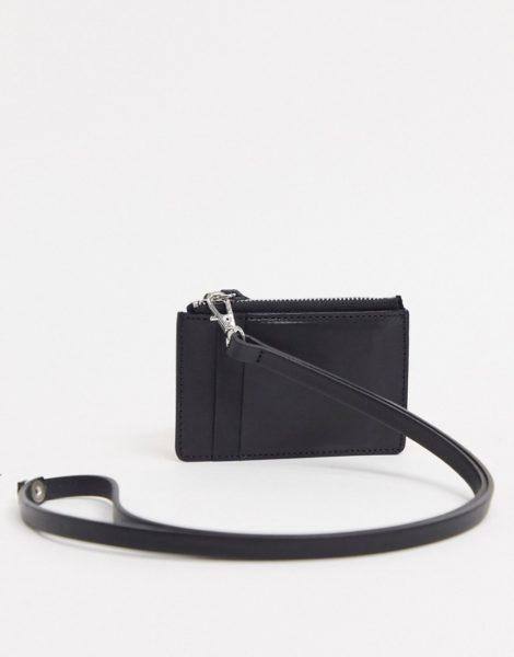 ASOS DESIGN - Schwarze Lederbrieftasche zum Umhängen mit Kartenetui und Reißverschluss