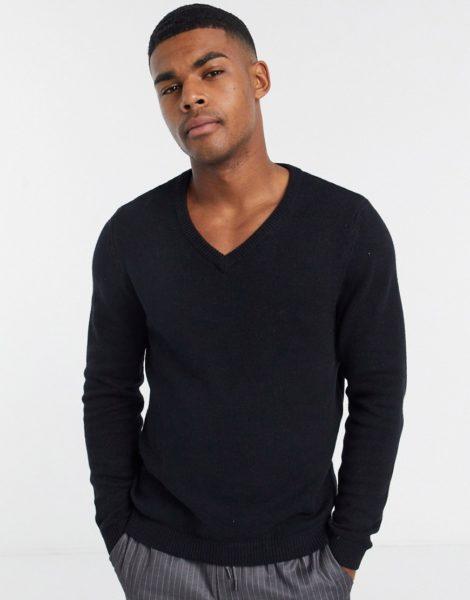 ASOS DESIGN - Schwarzer Pullover aus Baumwolle mit V-Ausschnitt