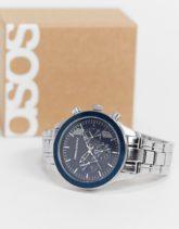 ASOS DESIGN - Silberfarbene Armbanduhr mit marineblauem Zifferblatt