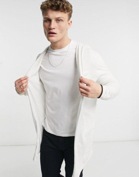 ASOS DESIGN - Strickjacke mit Kapuze in Weiß