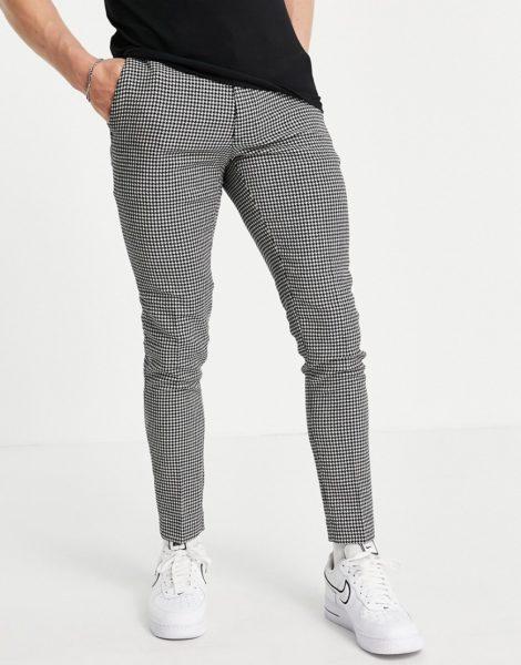 ASOS DESIGN - Superenge, elegante Hose aus Wollmix mit Hahnentrittmuster in Schwarz