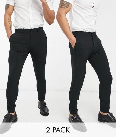 ASOS DESIGN - Superenge, elegante Hose im Multipack in Schwarz