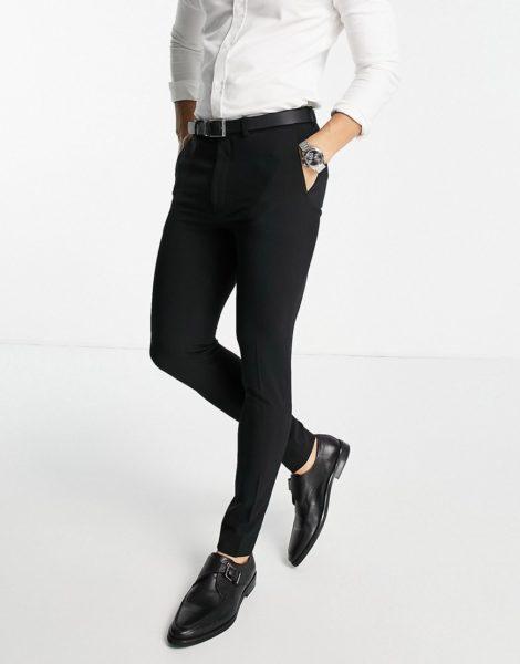 ASOS DESIGN - Superenge, elegante Hose in Schwarz