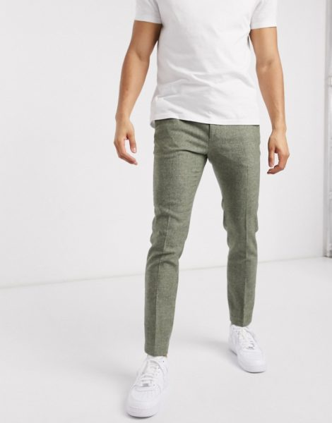 ASOS DESIGN - Superenge, elegante Hose mit Hahnentrittmuster in Mittelgrün-Grau