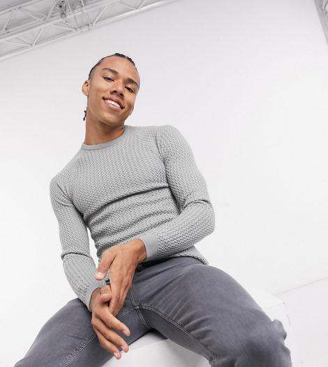 ASOS DESIGN Tall - Muskel-Pullover mit Rundhalsausschnitt und Korbgeflechtoptik in Hellgrau