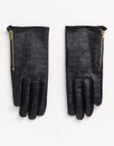 ASOS DESIGN - Touchscreen-Handschuhe aus Leder mit Monogramm-Schwarz