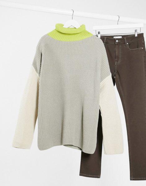 ASOS DESIGN - Übergroßer Pullover mit Stehkragen und kontrastierendem Ärmeln in Grau