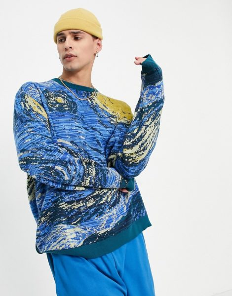 ASOS DESIGN - Van Gogh - Pullover aus Jacquard-Strick in Blau