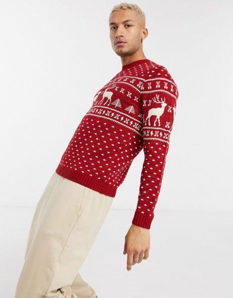 ASOS DESIGN - Weihnachts-Strickpullover mit rotem Rentier-Design