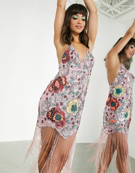 ASOS EDITION - Camisole-Kleid mit Blumenverzierung und Fransen in Rosa-Mehrfarbig