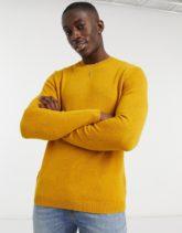 ASOS - Senfgelber Pullover aus Lammwolle mit Rundhalsausschnitt