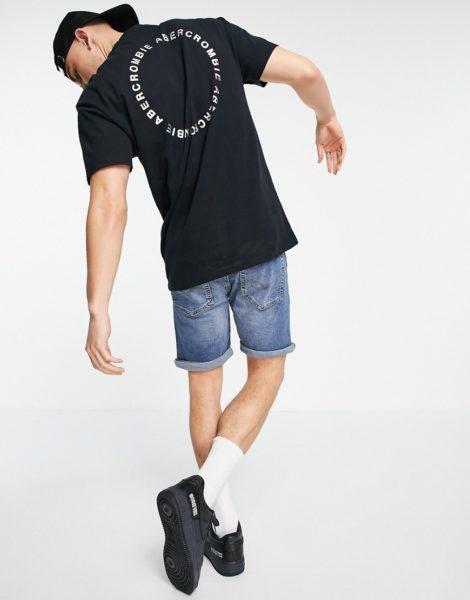 Abercrombie & Fitch - T-Shirt mit rundem Logoprint auf dem Rücken in Schwarz