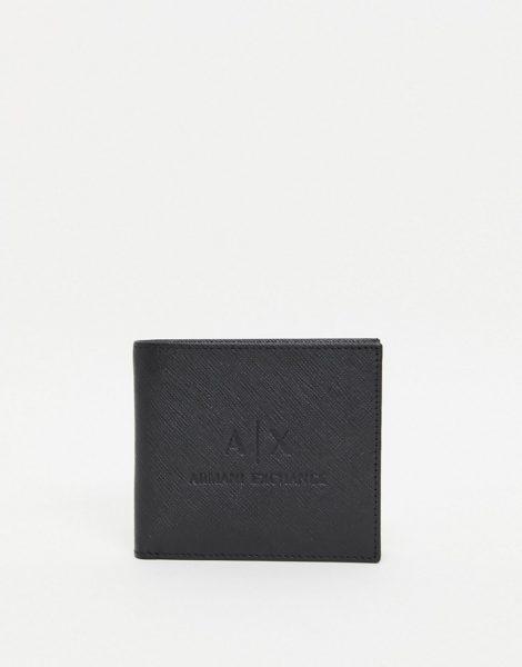 Armani Exchange - AX - Brieftasche aus Leder mit geprägtem Logo in Schwarz