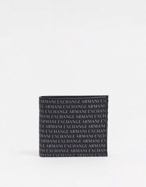 Armani Exchange - Geldbörse in Schwarz mit durchgängigem Logoprint