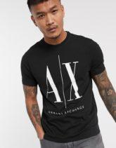 Armani Exchange - Icon AX - T-Shirt mit großem Logo in Schwarz