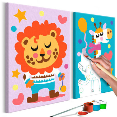 Artgeist Malen nach Zahlen Löwe & Giraffe