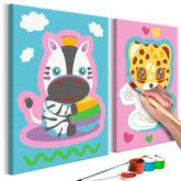 Artgeist Malen nach Zahlen Zebra & Leopard (Rosa Blau)