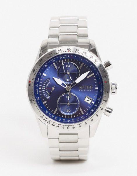BOSS - Silberfarbener Herren-Chronograph mit Armband, Modellnr. 1513850