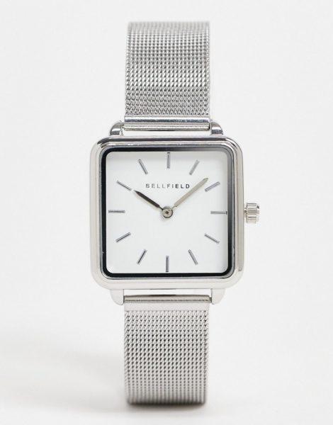 Bellfield - Uhr aus Edelstahl mit Netzarmband und quadratischem Zifferblatt-Silber