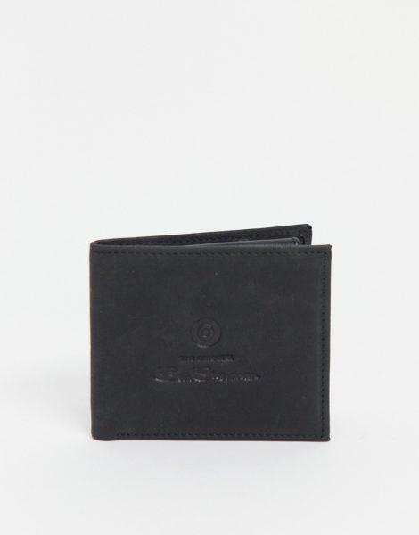 Ben Sherman - Brieftasche in Schwarz aus Leder mit Schriftzuglogo