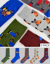Brave Soul - Socken im 5er-Pack mit Hundemotiv-Blau