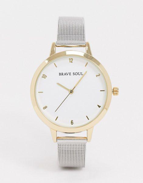 Brave Soul - Uhr mit zweifarbigem Netzarmband aus Edelstahl-Silber