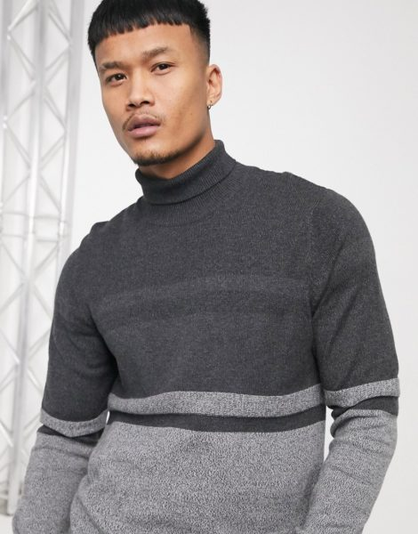 Burton Menswear - Rollkragenpullover in Grau gestreift