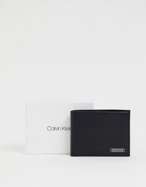 Calvin Klein - 5CC - Ledergeldbörse mit Plakette und Münzfach-Schwarz