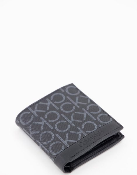 Calvin Klein - Schwarze Brieftasche mit Monogramm-Logo
