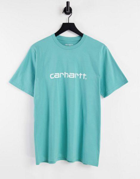 Carhartt WIP - T-Shirt mit Schriftzug in Blau