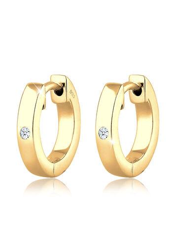 DIAMORE Ohrringe Creole Diamant (0.04 ct) Geschenkidee Silber, Gold, 12mm