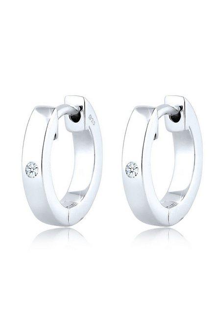 """Diamore Paar Creolen """"Creole Diamant (0.03 ct) Geschenkidee Silber"""""""