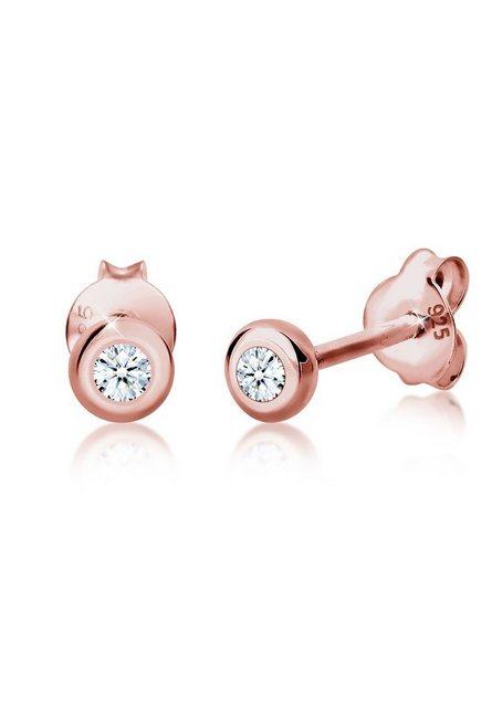 "Diamore Paar Ohrstecker ""Basic Diamant (0.06 ct) 925 Silber Geschenkidee"""