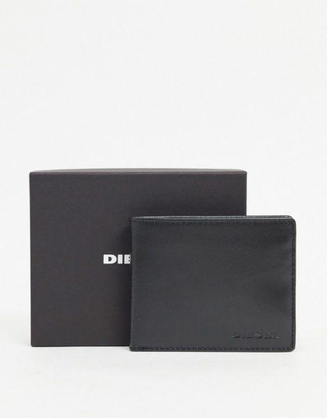 Diesel - Klappbare schwarze Brieftasche mit Logo