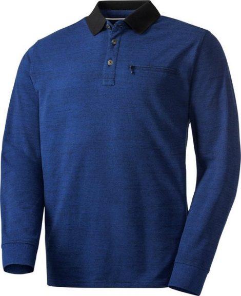 Franco Bettoni Langarm-Poloshirt aus hochwertig meliertem Strukturgarn