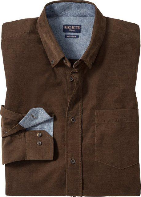 Franco Bettoni Langarmhemd Elastischer Feincord aus 100% Baumwolle