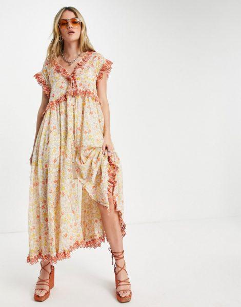 Free People - Milania - Midaxi-Kleid mit Rüschenbesatz und Vintage-Blumenmuster-Orange